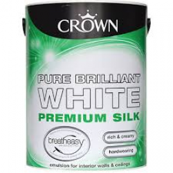 Paint/Farbe Crown SILK EMULSION BRIL WHITE 2.5L